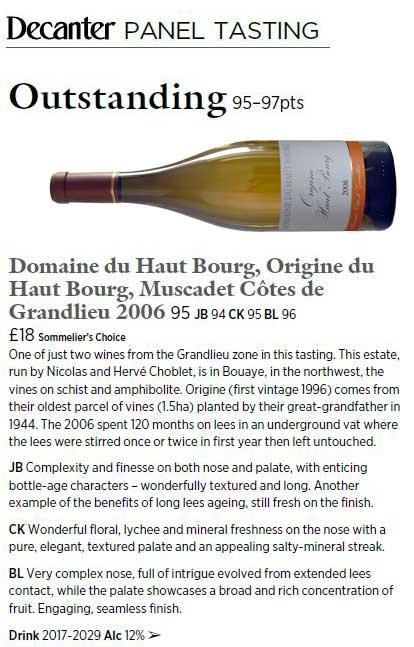 Decanter - Origine du Haut Bourg 2006 | DOMAINE DU HAUT BOURG