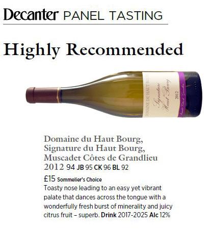 Decanter - Signature du Haut Bourg 2012 | DOMAINE DU HAUT BOURG